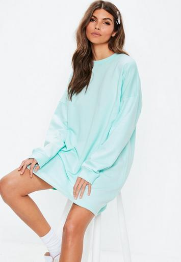 Mint Pastel Oversized Sweater Dress Missguided