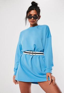 2f399e3aaf Blue Long Sleeve Oversized Sweater Dress
