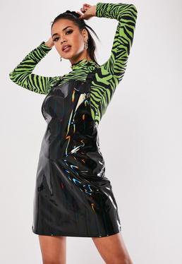 435a4484af2653 Black Iridescent Vinyl Pinafore Mini Dress