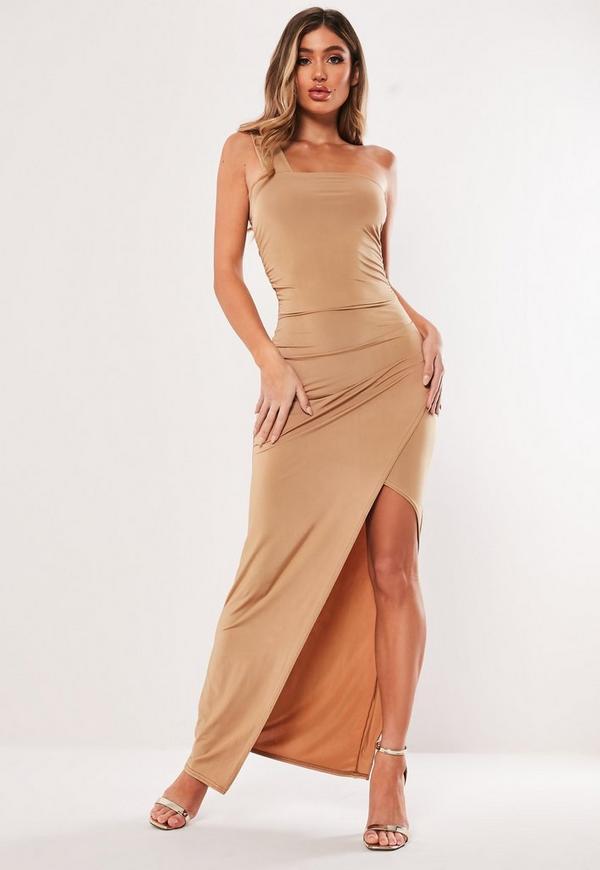 8403e9e7e2e5 ... Taupe Slinky One Shoulder Ruched Maxi Dress. Previous Next