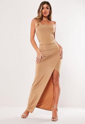 4bca256c87 £28.00. taupe slinky one shoulder ruched maxi dress