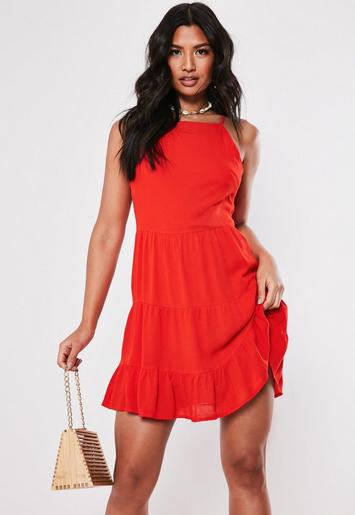 Red Crinkle Square Neck Skater Dress by Missguided
