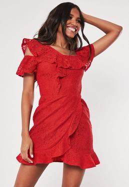 349ad7d53b19 Red Lace Bardot Button Side Frill Tea Dress