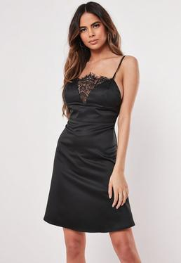 877d46718e91e4 ... Black Satin Lace Insert Skater Dress
