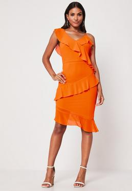b5c283c915 ... Orange Ruffle Hem Tea Dress