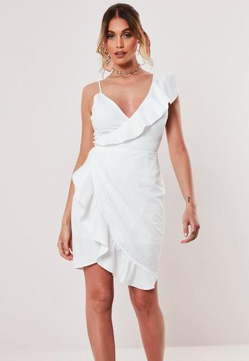 White Asymmetric Wrap Frill Tea Dress by Missguided