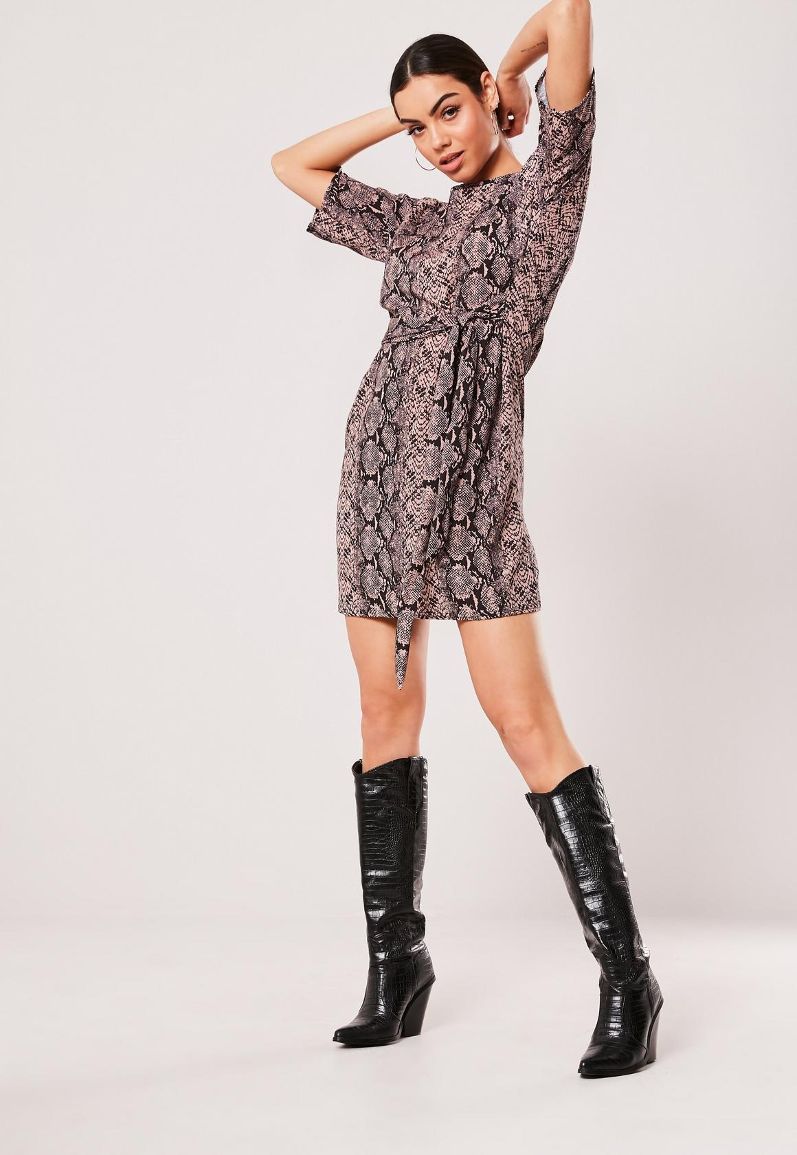 vivid and great in style sale online retail prices Pink Snake Print Tie Waist T Shirt Dress
