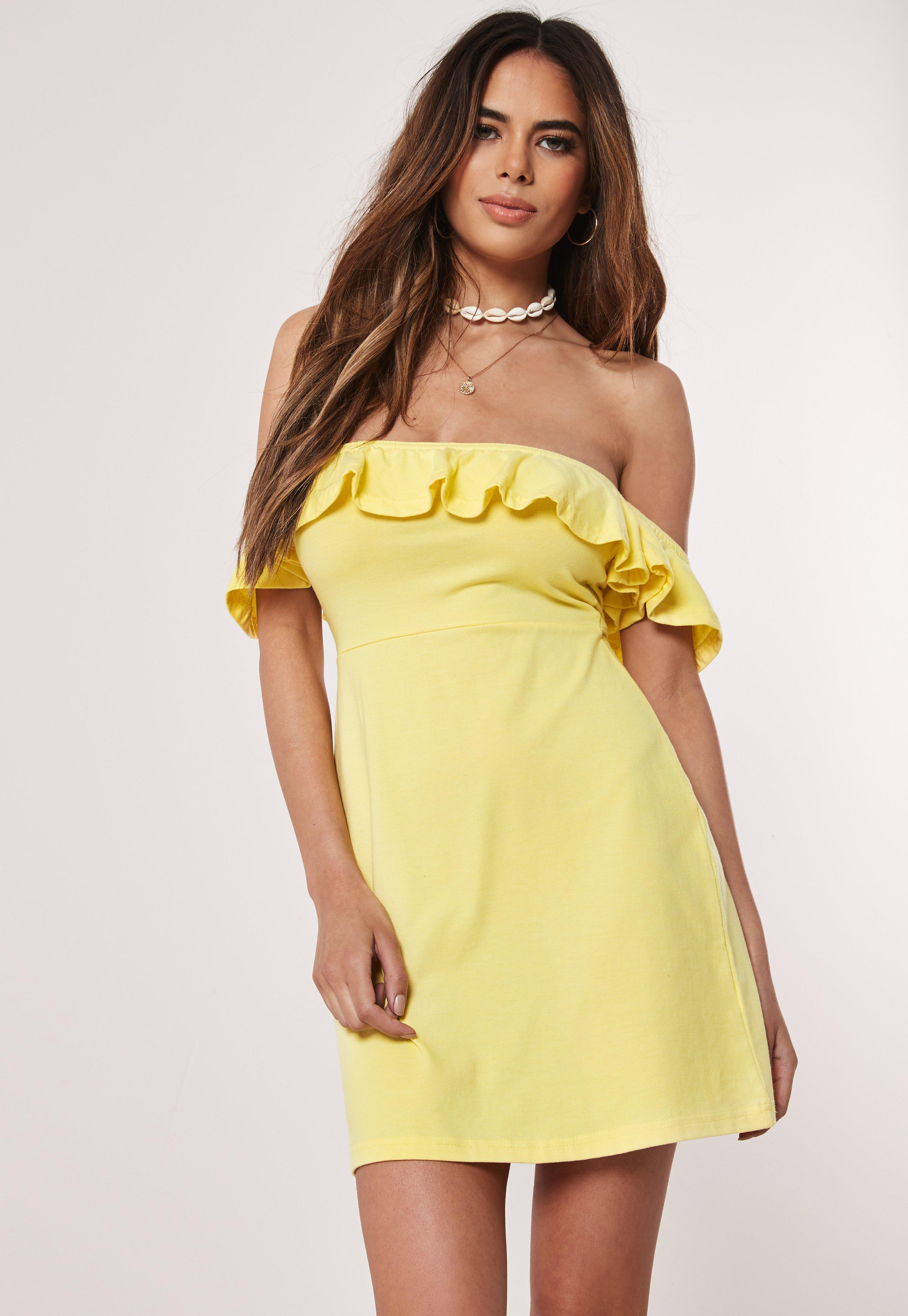 35751486c69a Yellow Bardot Skater Dress