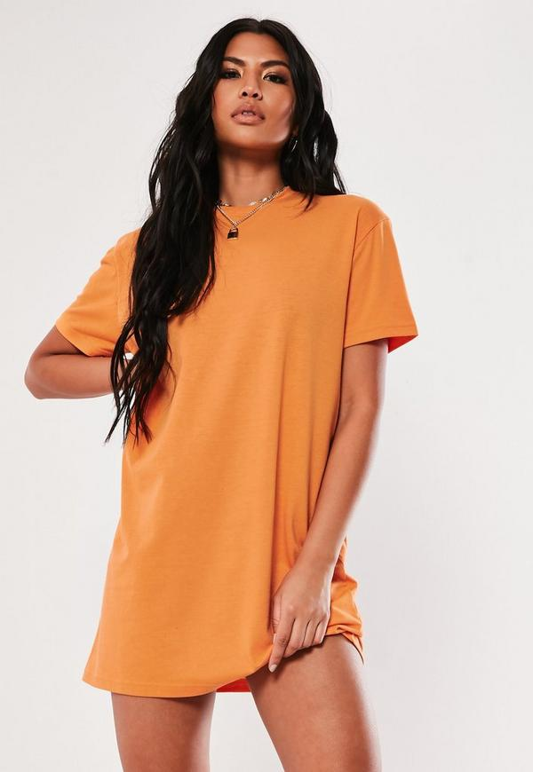 Orange Basic T Shirt Dress by Missguided