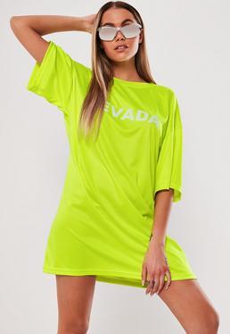 3573a1adcca6 Neon Yellow Oversized Nevada T Shirt Dress