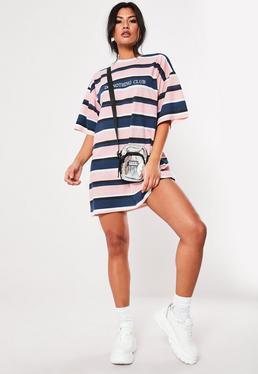 ... Pink Oversized Slogan Stripe T Shirt Dress eb72180a8