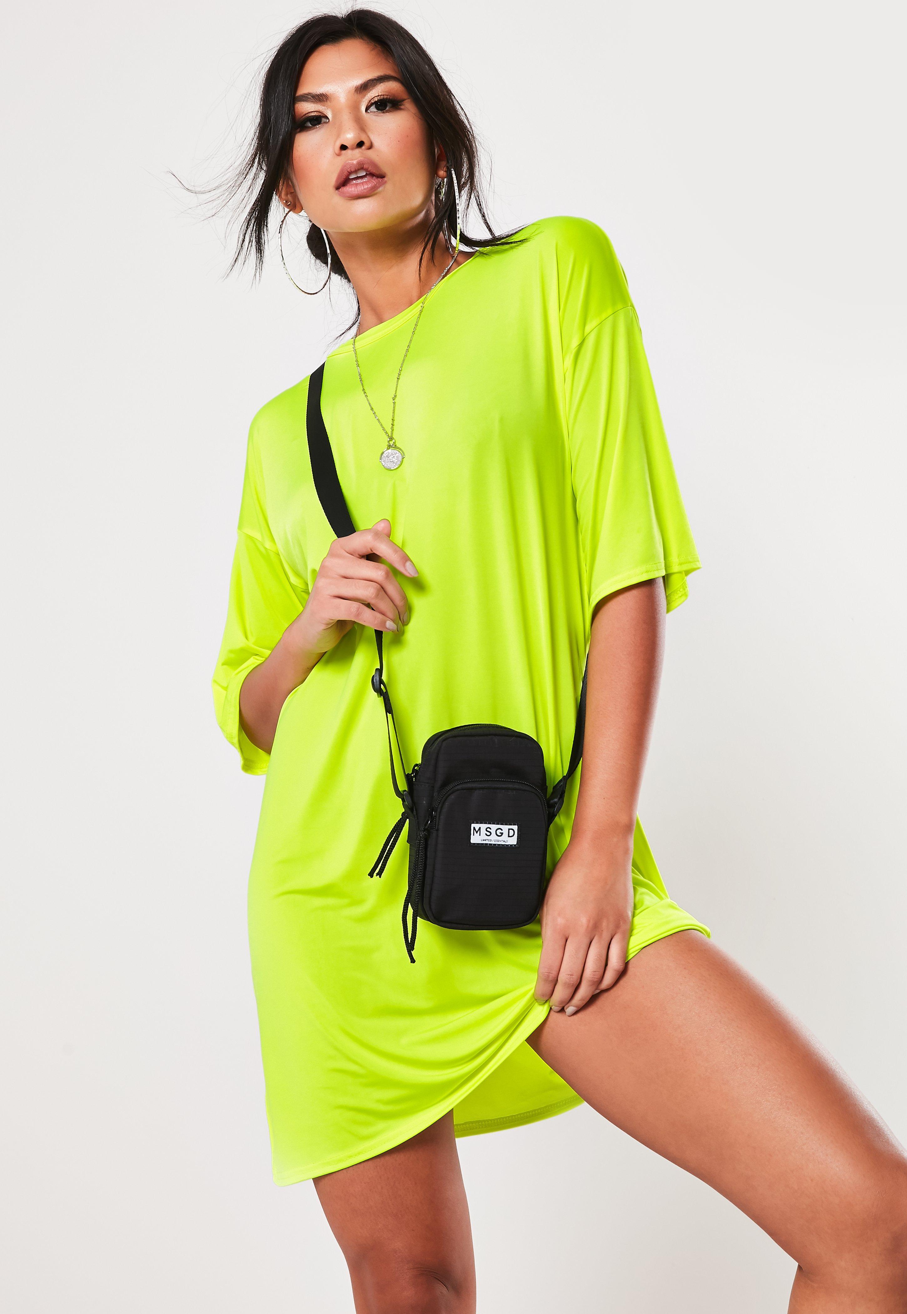 179d719be5 Neon Yellow Short Sleeve Oversized T Shirt Dress   Missguided Australia