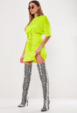 ... Neon Yellow Oversized Corset T Shirt Dress be8424c9ddd6