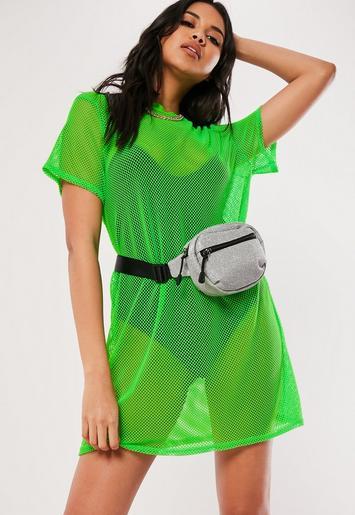 Neon Green Oversized Fishnet T Shirt Dress Missguided