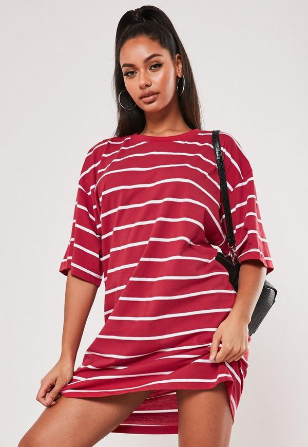 bd16c8c865 Black Striped Jersey Frill Sleeve Detail T Shirt Dress | Missguided ...