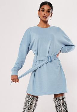 3507785c5d1 Blue Ruched Belted Sweater Dress