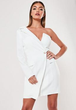 a074c687ad7 White One Shoulder Zip Front Blazer Dress