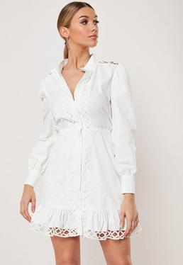 9b8dca468e White Poplin Lattice Detail Shirt Dress