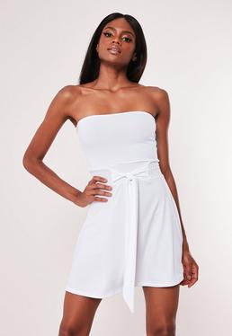 20fae0b70611d White Rib Bandeau Skater Dress