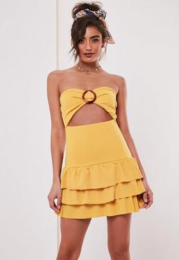 120812c0ae7 Mustard Bandeau Tortoiseshell Buckle Mini Dress