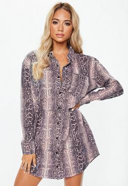 Свободное платье-рубашка из розового змеиного принта
