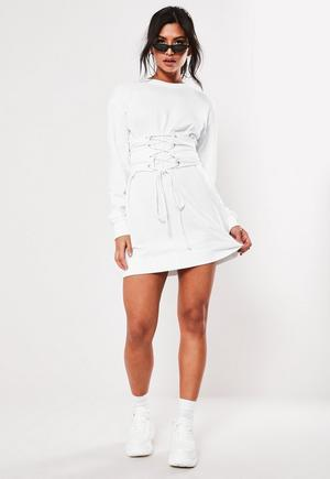f28076094da £25.00. white oversized corset waist sweater dress. select your size, Size  ...