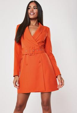 a21ce733fe3 ... Orange Belted Blazer Dress