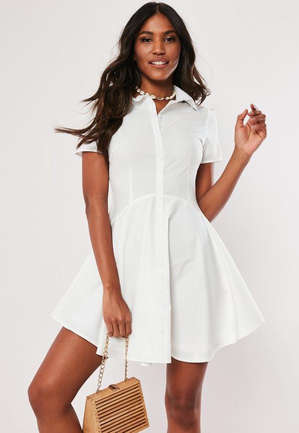 2fa0a55a2329 White Skater Shirt Dress