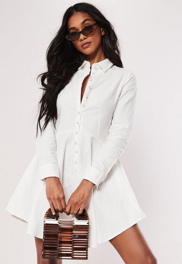 White Cotton Button Down Skater Shirt Dress | Missguided