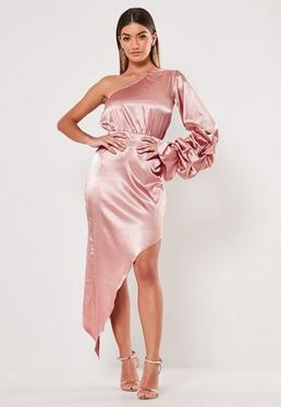 d1e285fa19 ... Blush Ruffle One Shoulder Asymmetric Maxi Dress
