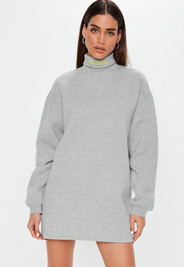 Gray Roll Neck Slogan Sweater Dress by Missguided