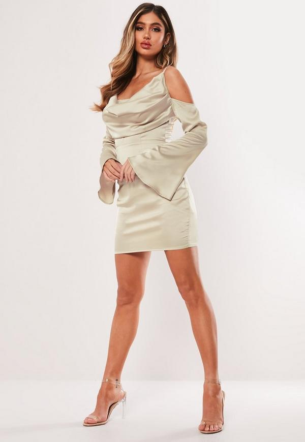 6e5447a7a2e Cream Satin Cold Shoulder Cowl Mini Dress. Previous Next