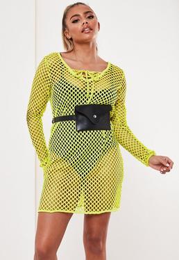 da881e171df Neon Yellow Lace Up Fishnet T Shirt Dress