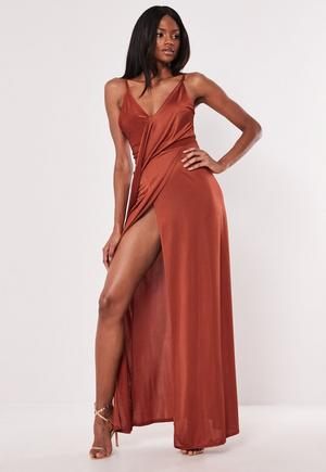 b3c037adff Chocolate Brown Slinky Asymmetric Maxi Dress