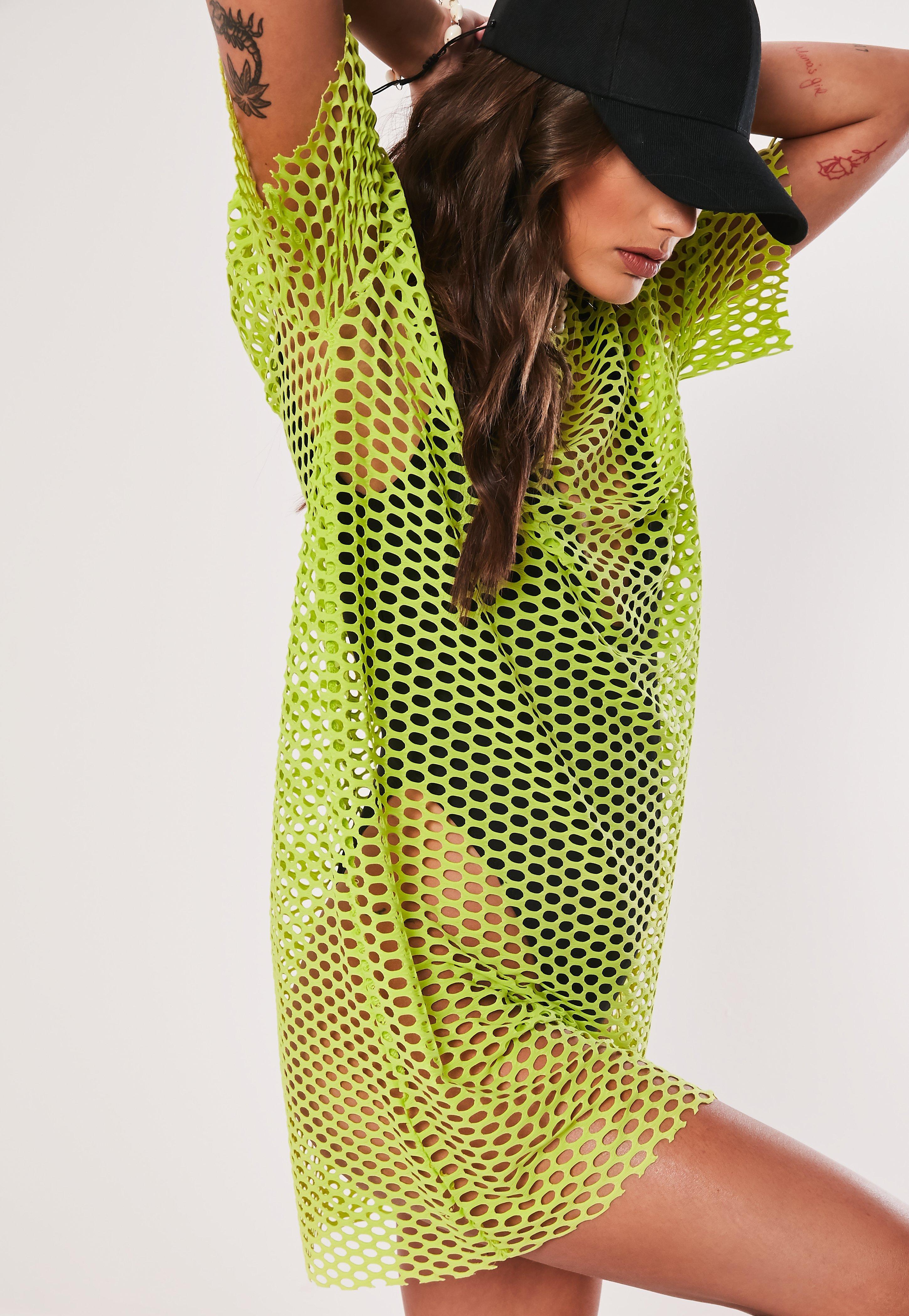 e29ce7f61a0 Lime Oversized Fishnet T Shirt Dress