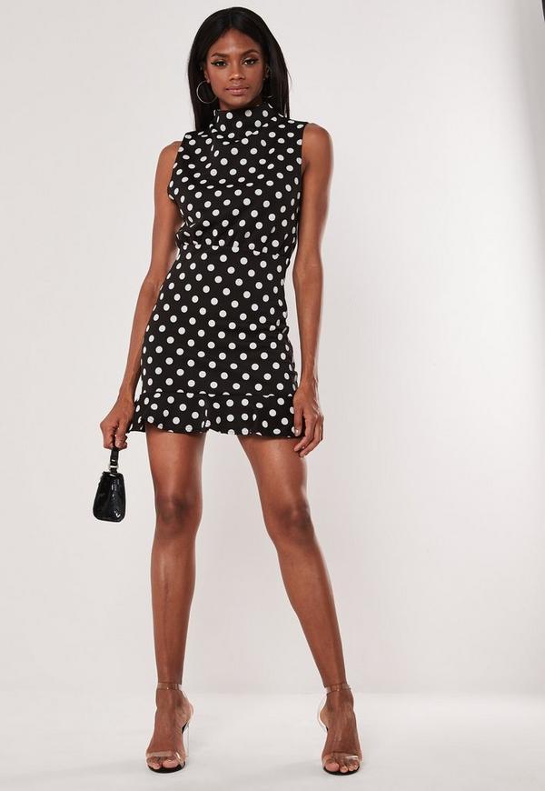 Black Polka Dot High Neck Frill Hem Shift Dress Missguided