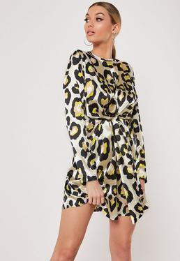 806dece0a24 ... White Leopard Print Satin Shift Dress