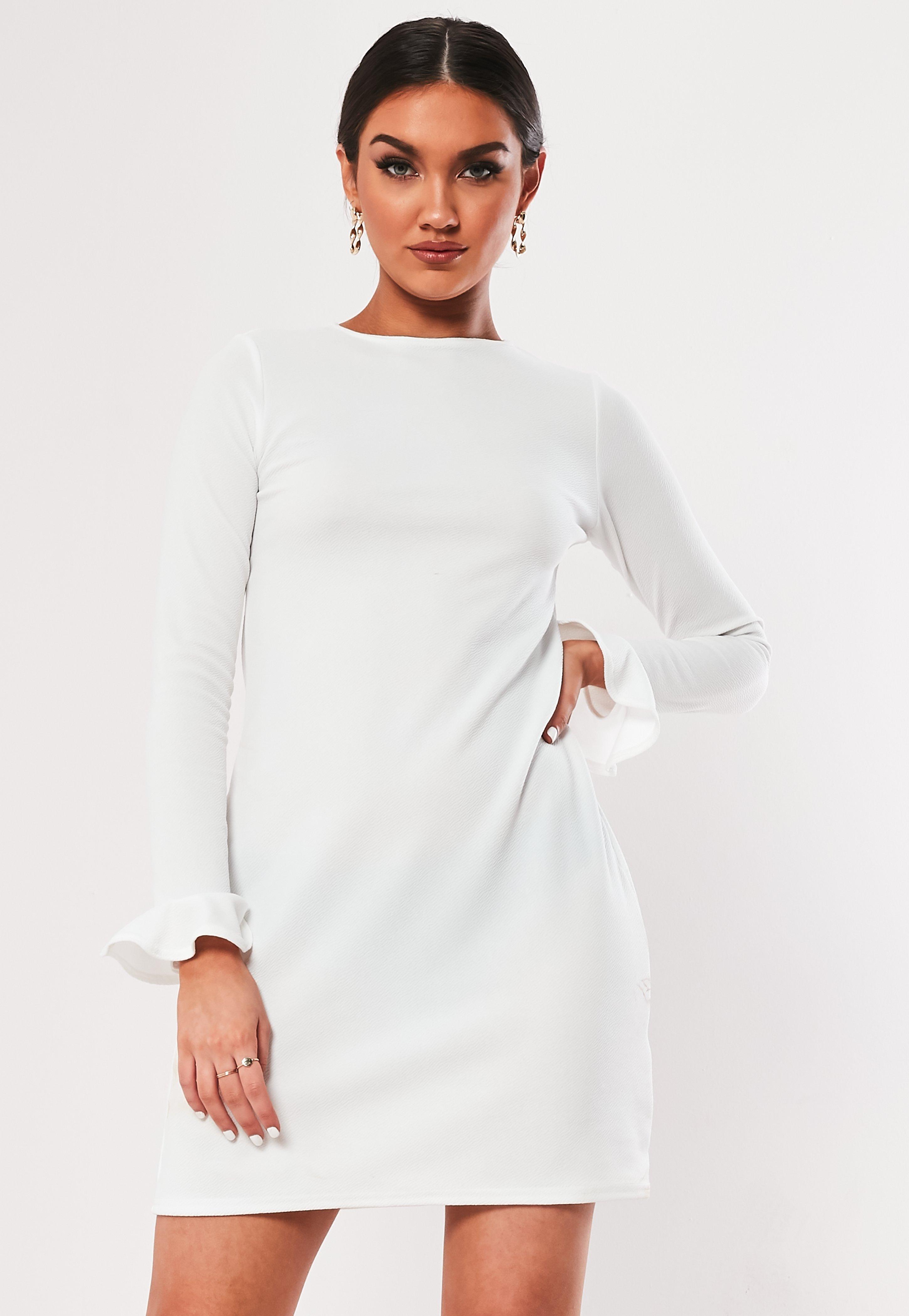 e5da08b01095 White Frill Long Sleeve Mini Dress