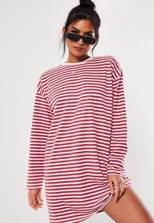 01e923d5c0d6 £18.00. red stripe long sleeve oversized t shirt.