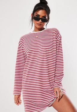 ... Red Stripe Long Sleeve Oversized T Shirt Dress be7c31909