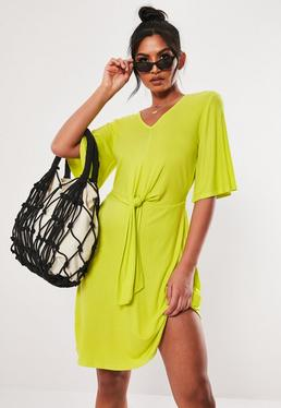 Lime Tie Waist Ribbed Shift Dress 57d1660de
