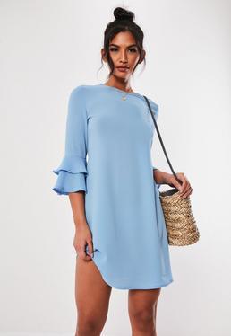 Blue Frill Sleeve Shift Mini Dress 4931c61ea