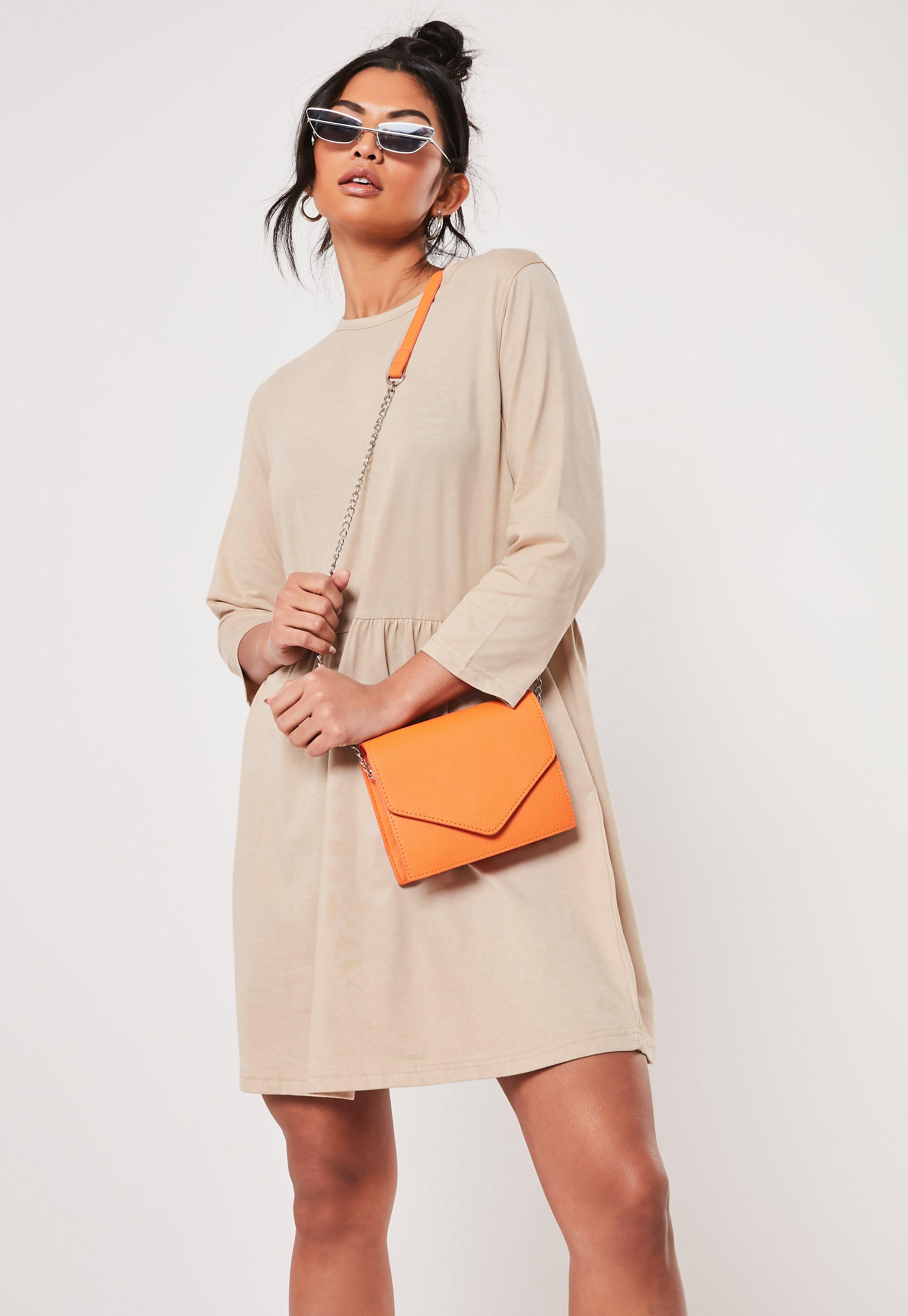 44101ab0005 Camel Jersey Half Sleeve Oversized Smock DRess | Missguided