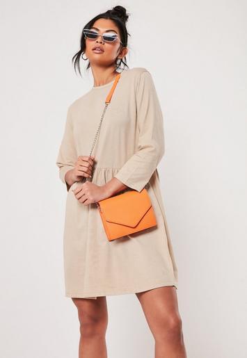 Camel Jersey Half Sleeve Oversized Smock Dress by Missguided