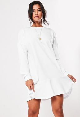 White Frill Hem Sweater Dress 07d4a88c8