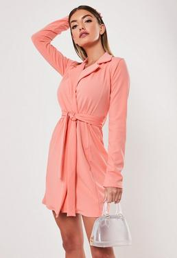 63d26cbaaf ... Peach Long Sleeve Fitted Jersey Belted Wrap Dress