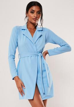 995cbf973 ... Blue Long Sleeve Fitted Jersey Belted Wrap Dress