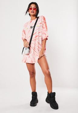 Свободное платье-футболка Pink Daisy Tie Dye
