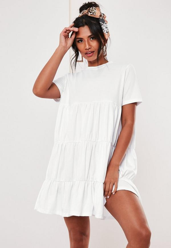 907a0b8f Blue Tie Front Button Down Strappy Midi Dress. $50.00 · white jersey tiered  smock dress