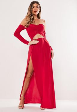 3461456502b ... Red Slinky Bardot Cut Out Split Maxi Dress
